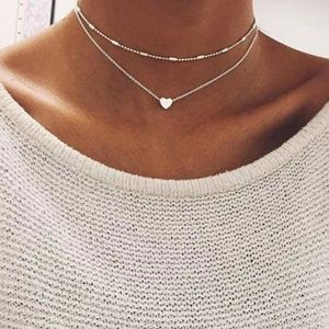 Jewelry - 3 for $15💕 Double Heart Layered Choker Necklace